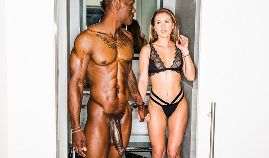 Slender drunk beauty and a black man with a huge cock